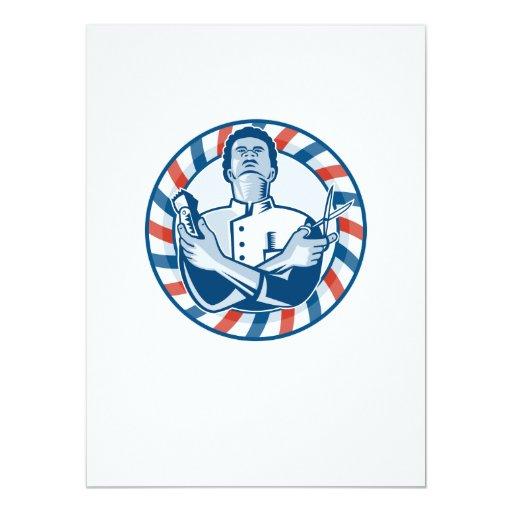 Peluquero con las podadoras y las tijeras de pelo invitación 13,9 x 19,0 cm