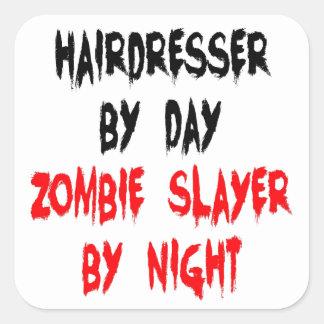 Peluquero del asesino del zombi calcomania cuadradas personalizadas