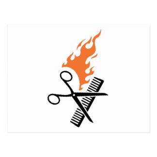 Peluquero en el fuego tarjetas postales