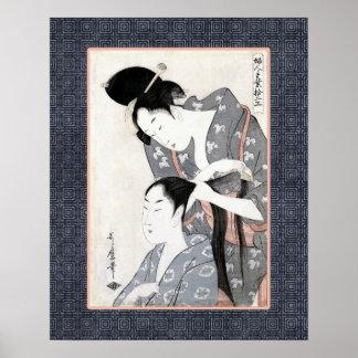 Peluquero por la impresión de Kitagawa Ukiyo-e Póster