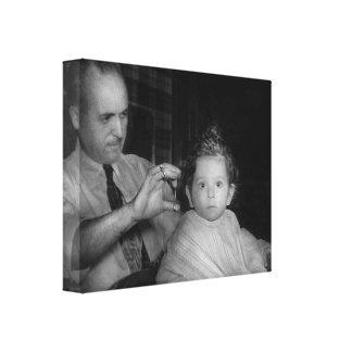 Peluquero - primer corte de pelo impresion en lona