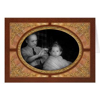 Peluquero - primer corte de pelo tarjetas