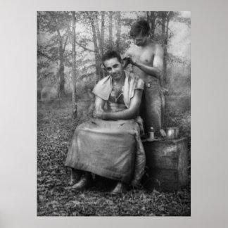 Peluquero - WWII - corte de pelo del SOLDADO ENROL Poster