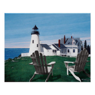 Pemaquid Light and two Chairs Giclee Print/Poster