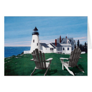 Pemaquid Lighthouse and Adirondack Chairs Card