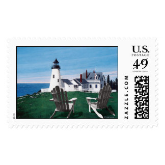 Pemaquid Lighthouse and Two Chairs Postage