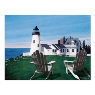 Pemaquid Lighthouse and Two Chairs Postcard