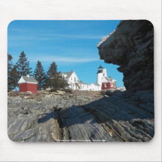 Pemaquid Lighthouse on the rocks Mouse Pad