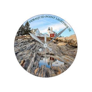 Pemaquid Point Lighthouse Maine Wall  Clock