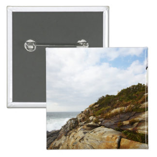 Pemaquid Point Lighthouse on a Rocky Hillside 2 Inch Square Button