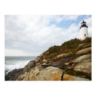 Pemaquid Point Lighthouse on a Rocky Hillside Postcard