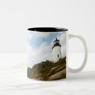 Pemaquid Point Lighthouse on a Rocky Hillside Two-Tone Coffee Mug