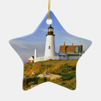 Pemaquid Point Lighthouse Double-Sided Star Ceramic Christmas Ornament