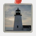 Pemaquid Point Lighthouse Square Metal Christmas Ornament