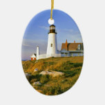 Pemaquid Point Lighthouse Double-Sided Oval Ceramic Christmas Ornament