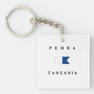 Pemba Tanzania Alpha Dive Flag Double-Sided Square Acrylic Keychain
