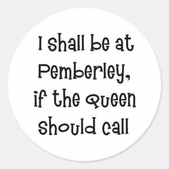 Pemberley Classic Round Sticker