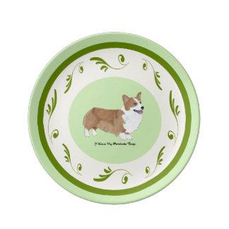 Pembroke Corgi on Green Swirls Dinner Plate
