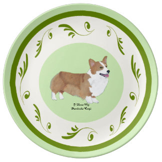 Pembroke Corgi on Green Swirls Porcelain Plate