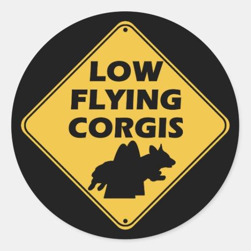 Pembroke - Low Flying Corgis Classic Round Sticker