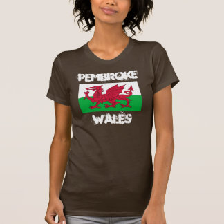Pembroke, País de Gales con la bandera Galés Remera