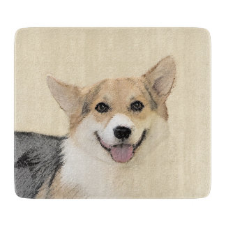Pembroke Welsh Corgi 2 Painting - Original Dog Art Cutting Board