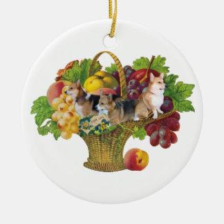 PEMBROKE WELSH CORGI-3 PEMS IN A FRUIT BASKET CHRISTMAS TREE ORNAMENT