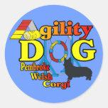 Pembroke Welsh Corgi Agility Shirts Gifts Round Stickers