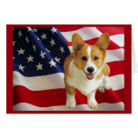 Pembroke Welsh Corgi American Flag Greeting Card
