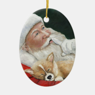 Pembroke Welsh Corgi and Santa Art Ornament