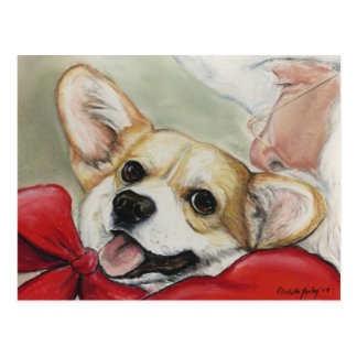Pembroke Welsh Corgi and Santa Postcard