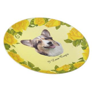 Pembroke Welsh Corgi and Yellow Roses Plate