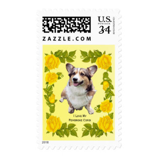 Pembroke Welsh Corgi and Yellow Roses Postage