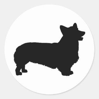 Pembroke Welsh Corgi black Round Sticker