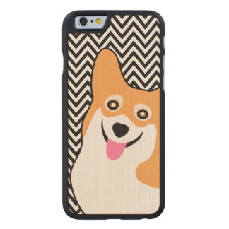 Pembroke Welsh Corgi Chic Chevron Carved Maple iPhone 6 Case