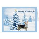 Pembroke Welsh Corgi Christmas Card Blue Tree