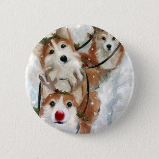 pembroke welsh Corgi Christmas Reindeer Button