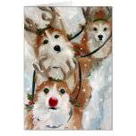 Pembroke Welsh Corgi Christmas Reindeer Greeting Card
