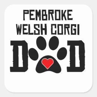 Pembroke Welsh Corgi Dad Square Stickers