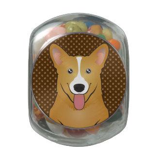 Pembroke Welsh Corgi Dog Cartoon Paws Glass Candy Jars