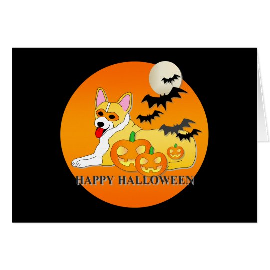 Pembroke Welsh Corgi Dog Halloween Card
