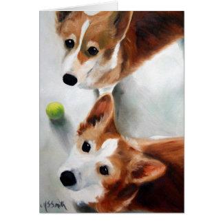 Pembroke Welsh Corgi Dog Puppy Art Tennis Sports Card