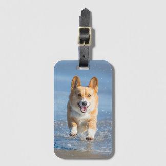 Pembroke Welsh Corgi Dog Running On The Beach Bag Tag