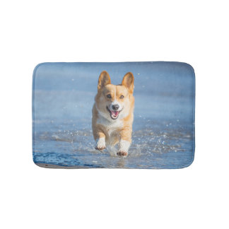 Pembroke Welsh Corgi Dog Running On The Beach Bathroom Mat