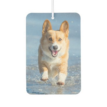 Beach Themed Pembroke Welsh Corgi Dog Running On The Beach Car Air Freshener
