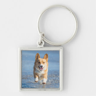 Pembroke Welsh Corgi Dog Running On The Beach Keychain