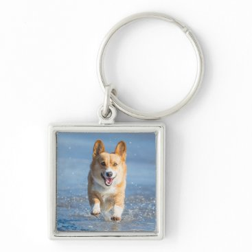 Beach Themed Pembroke Welsh Corgi Dog Running On The Beach Keychain