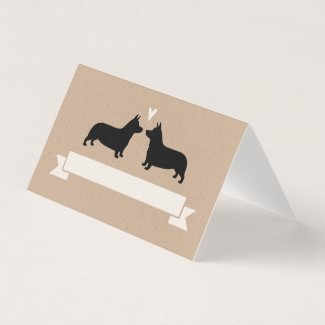 Pembroke Welsh Corgi Dog Silhouettes Wedding Place Card