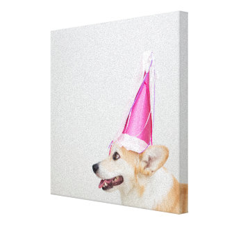 Pembroke Welsh Corgi Dog Wearing A Birthday Hat Canvas Print