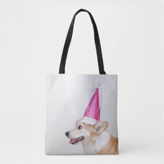 Pembroke Welsh Corgi Dog Wearing A Birthday Hat Tote Bag